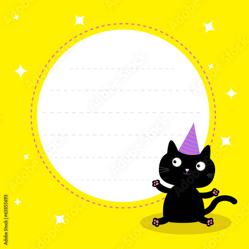 Frame with cute cartoon black cat with hat. Happy Birthday party