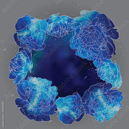Blue Peonies Vector Background. Floral Frame.