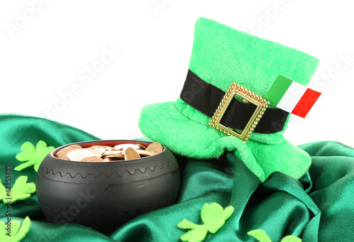 Saint Patrick day hat, pot of gold coins and Irish flag,