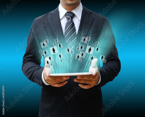 businessman using digital table