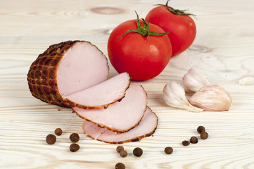 ham on wooden background