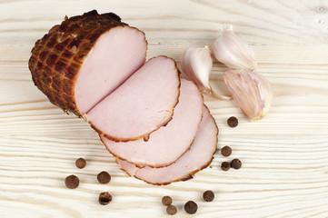 ham on wooden background
