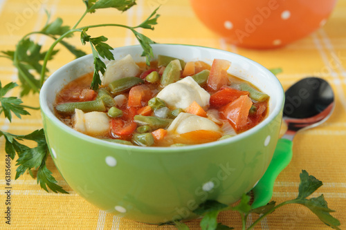 Vegetable soup with meat dumplings