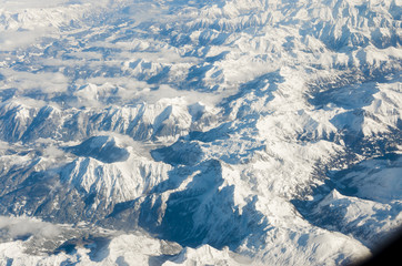 Aerial view of Glacier in the Alps Mountain Range