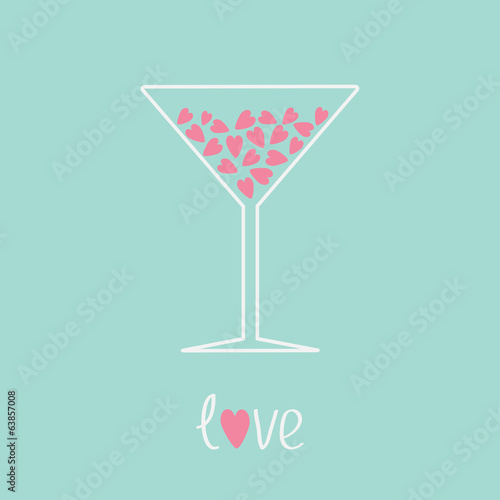 Martini glass with pink hearts inside. Love card.