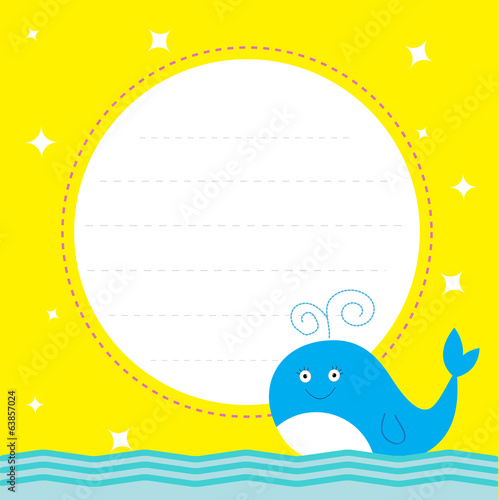 Frame with cute cartoon whale and sparkles. Happy Birthday party