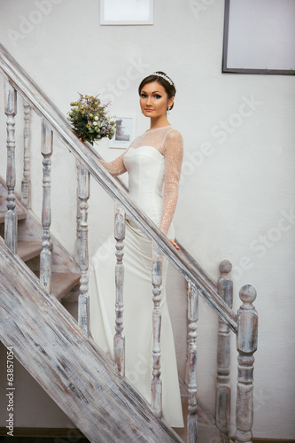 Portrait of bride on the stairs