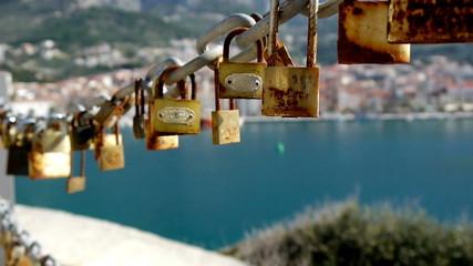 Love padlocks close up