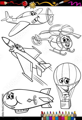 cartoon aircraft set for coloring book