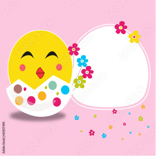 Happy easter cracked egg and smiling chick card vector