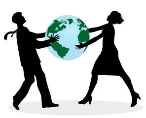 illustrazione di uomo e donna che si litigano il pianeta terra