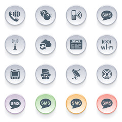 Communication icons on color buttons.