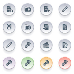 Document icons on color buttons.