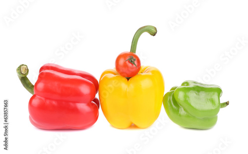 Set of colored bell peppers