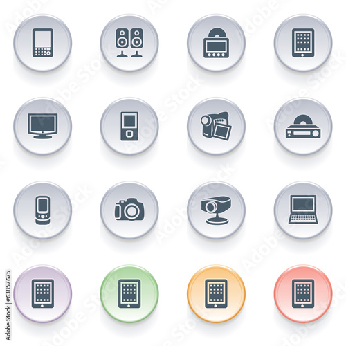 Electronics icons on color buttons.