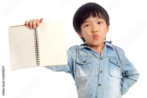 Happy boy with hand holding notebook