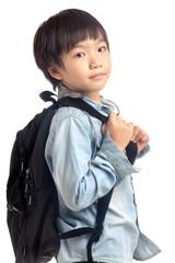 Boy with kid school backpack