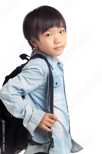 Boy with school bag