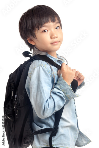 Boy with kid school backpack