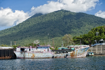 fishing boat in indonesia harbor