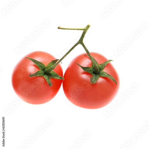 Two tomatoes on a branch isolated. Cherry tomatoes.