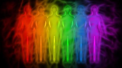 Rainbow people - rainbow silhouettes of human aura