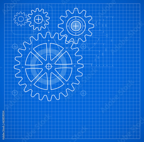 Technical blueprint illustration on blue background