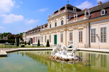 Lower Belvedere Palace with pond, Vienna, Austria