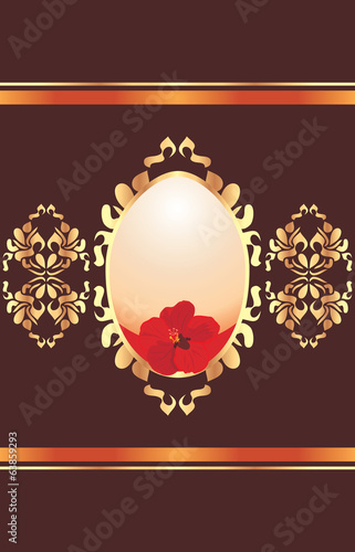 Easter egg with red flower on the ornamental shining background
