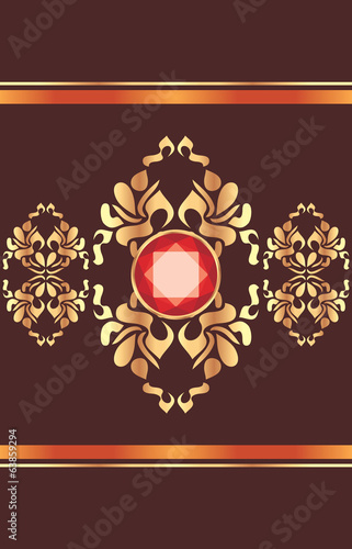 Shining golden ornament with red gemstone on the dark background