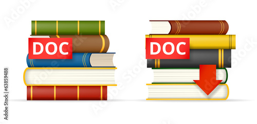 DOC format books stacks  icons