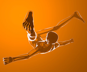 Caduta di un corpo umano visto ai raggi x