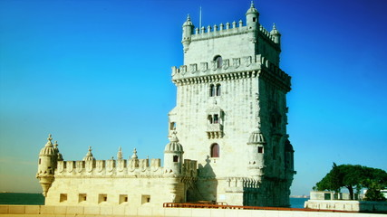 The Belem Tower in Lisbon,time lapse