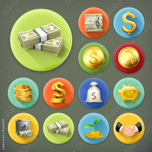 Money and coins, long shadow vector icon set