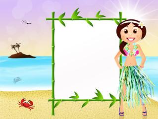 Hawaiian woman with blackboard bamboo