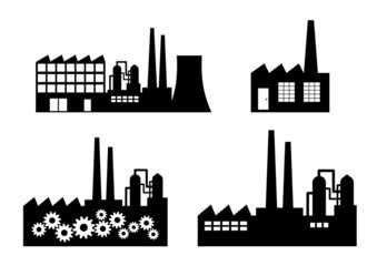 Factory icons on white background