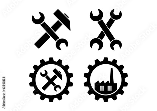 Industrial icons on white background