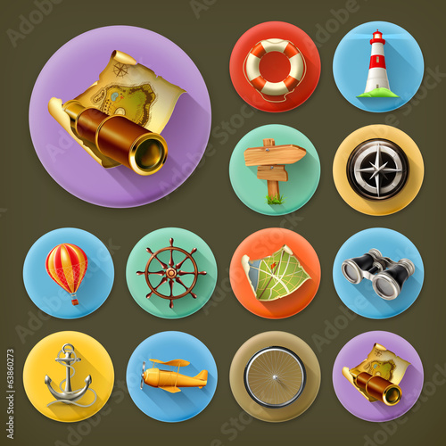 Navigation, long shadow icon set