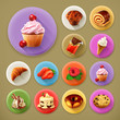 Sweet and tasty, long shadow icon set