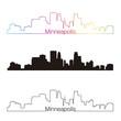 Minneapolis skyline linear style with rainbow