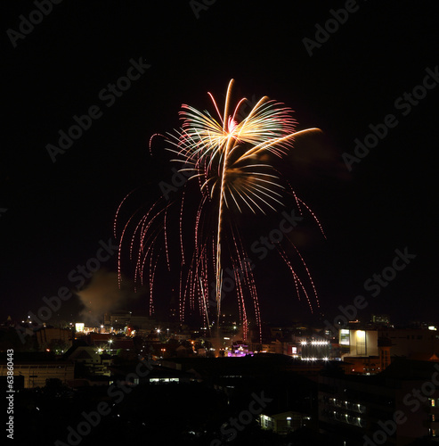 beautiful fireworks over sky