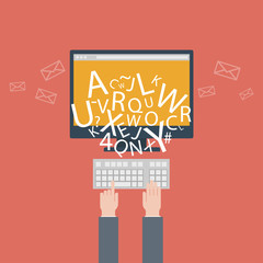 blogging and writing for website, email. Vector illustration,