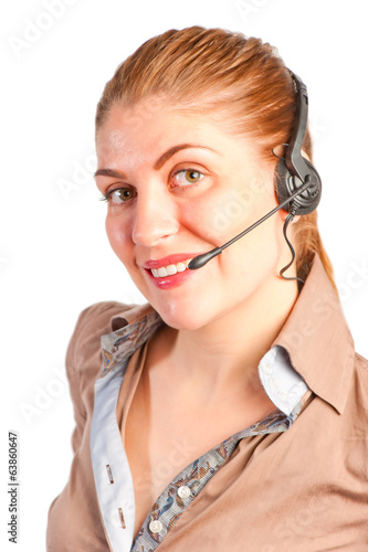 happy young woman with headset on white background