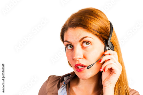 operator with headset on white background in studio