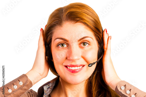 woman operator with headset straightens her hair