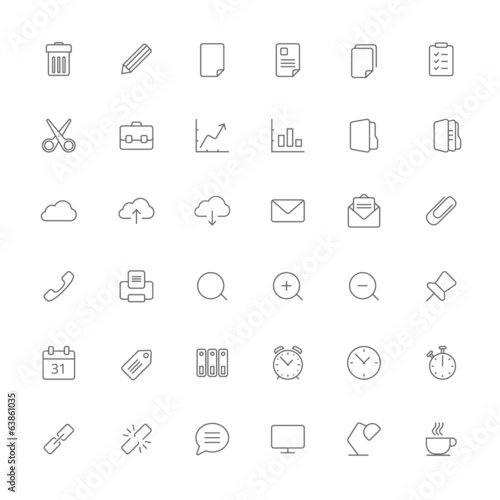 Stroke office icon set