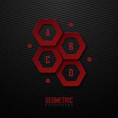 Dark background with red design elements
