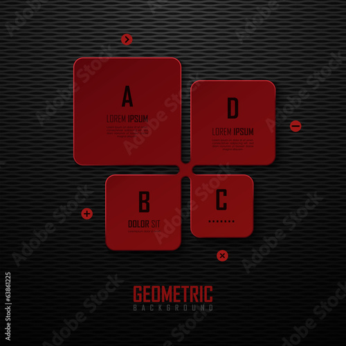 Dark background with red design elements