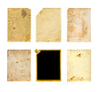 Set of  old photo paper texture isolated on white background