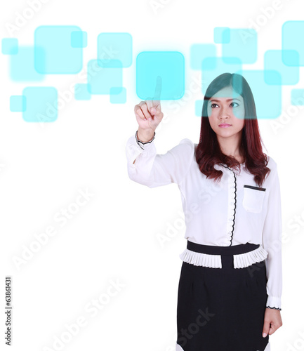business woman pushing button on a touch screen interface